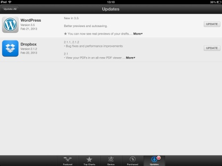 iPad Update Screen showing 'Update All' in the Upper Left